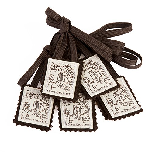 Brown Scapular Mt. Carmel 100% Wool Made in USA Handmade Quality (5 Pack)