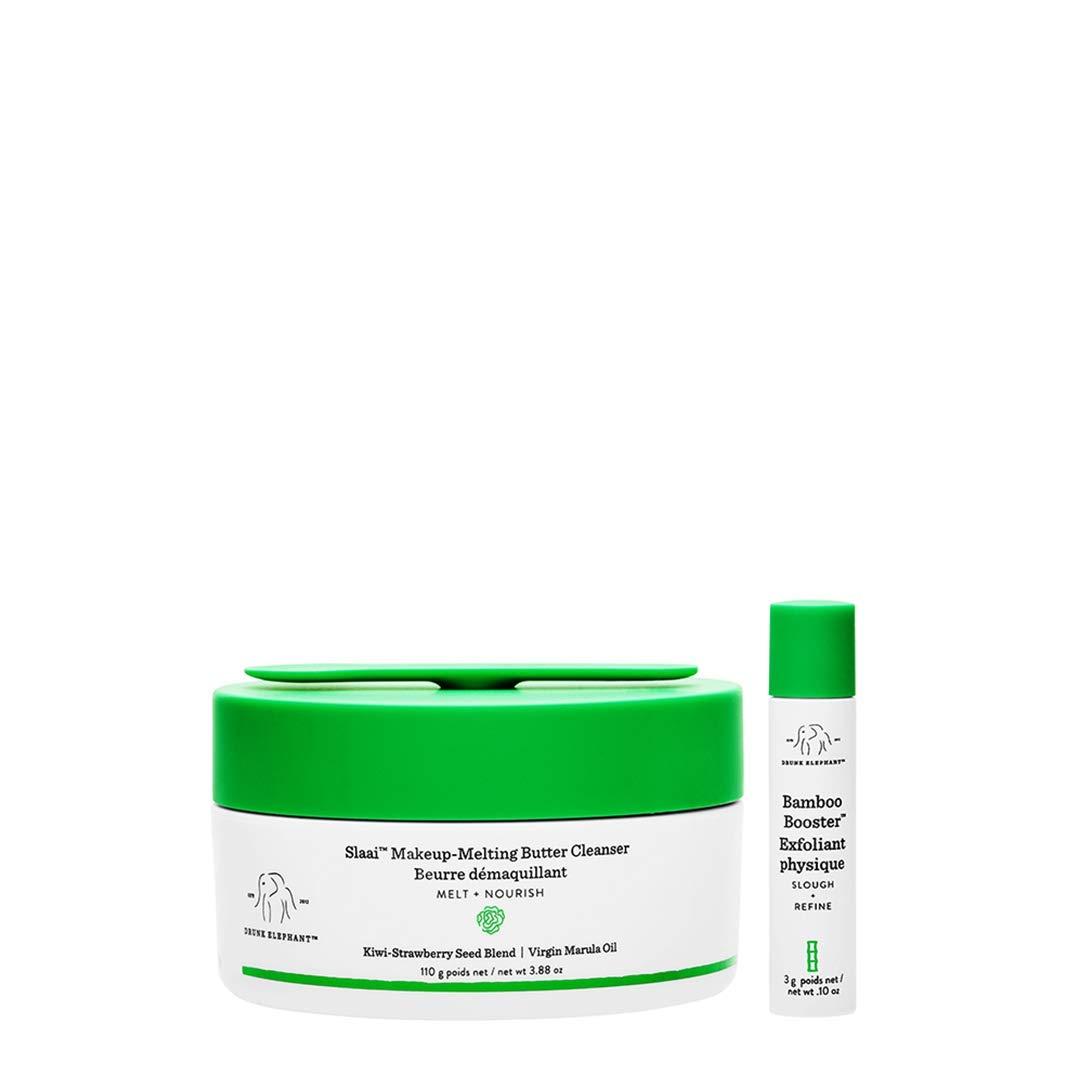 Drunk Elephant Slaai Makeup-Melting Butter Cleanser and Bamboo Booster. Innovative Makeup Removing Cleansing Balm that Melts Away Dirt, Makeup & Sunscreen (3.88 Ounce)