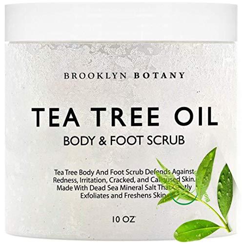 Tea Tree Oil Body Scrub and Foot Scrub 10 oz - Exfoliating & Moisturizing Salt Scrub - Best Exfoliating Cleanser for Skin - Natural Help Against Oily Skin and Callus - Brooklyn Botany