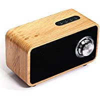 Bluetooth Speaker Wooden, Portable 3D Stereo Music Sound Speaker with 10-Hour Playtime, Enhanced FM radio for Home and Outdoor Party/Beach/Picnic (Black walnut)