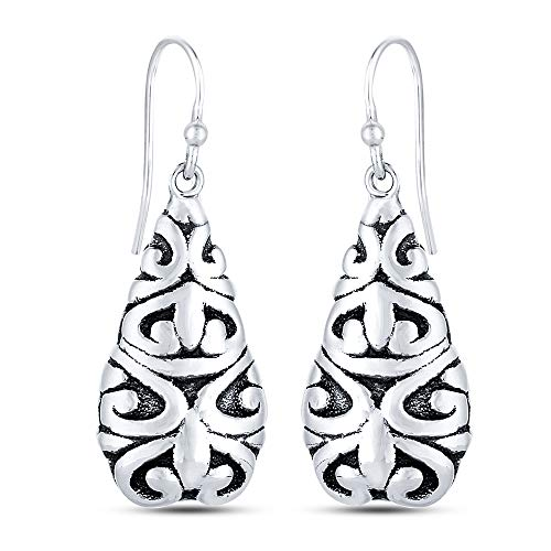 LeCalla Sterling Silver Filigree Antique Drop Earring for Women