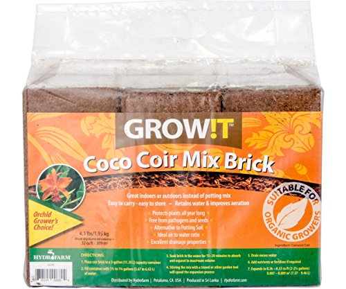 Hydrofarm GROWT JSCPB Coco Coir Mix Brick Set of 3, 1, - Coir Brick