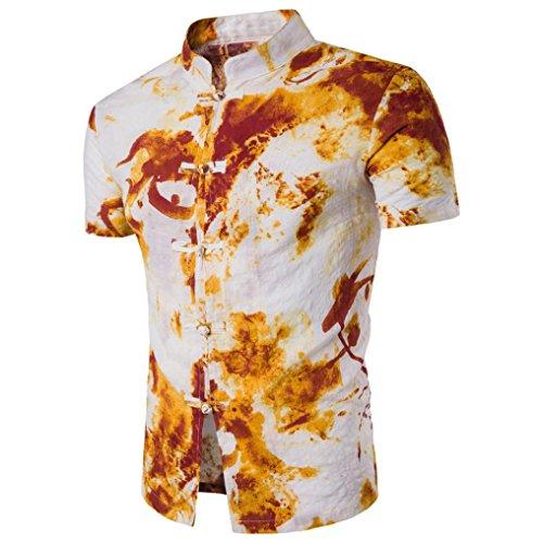 Bohemia Retro Fashion Printing Shirt Tops Für Herren, Amlaiworld Button Dekoration Kurzarm T-Shirt Bluse (XL, Weiß)