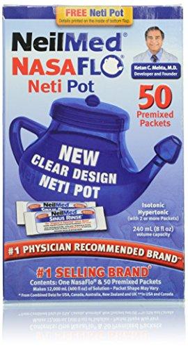 NeilMed NasaFlo Unbreakable Neti Pot with 50 Premixed - Nasaflo Pot Neti