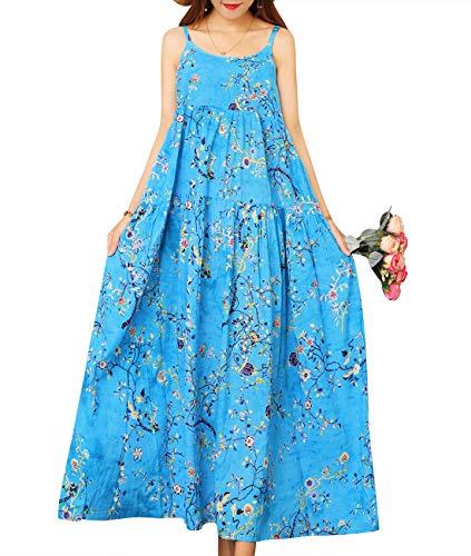 YESNO Women Casual Loose Bohemian Floral Print Empire Waist Spaghetti Strap Long Maxi Summer Beach Swing Dress E75 (M, E75 As -
