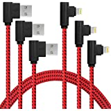 [3-Pack] 6FT/2M iPhone Gaming Charger Cable 90 Degree Elbow Game Video Watching Compatible with iPhone X 8/7 Plus 6/6s Plus 5s SE,iPad Mini Air 2 3 4 Pro More (Black Red, 6FT)