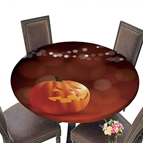 Polyester Cloth Fabric Cover,Halloween Dia de Los Muertos Greeting Card Freaky Carved Pumpkin Decorative Round Tablecloths for Kitchen Room up to 67.5