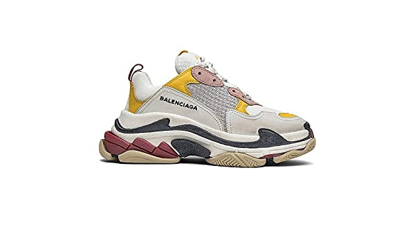 54646d350e Amazon.com | Balenciaga Men's & Women's (35-45 Sizes) Triple S Trainer ' White Yellow' Unisex Fashion Sneakers | Fashion Sneakers
