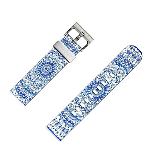 22mm Leather Watch Strap & Band for Samsung Gear S3 Classic/Frontier/for Galaxy Watch 46mm/for Zenwatch 1/2 1.63/for LG Urbane/for Pebble Steel Mandala Blue Art