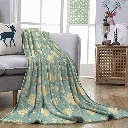 - Zmstroy Sofa Blanket Tea Tea Cup and Teapot Elements in Nostalgic British English Tradition Print Light Yellow Turquoise Lightweight Super Soft Comfort W70 xL84
