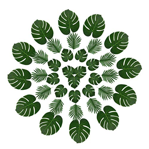 Faux Tropical Palm Leaves Decoration,36 Pcs Reusable Fake Leaves with Variety of Sizes for Jungle Themed Party,Havana Nights,Baby Shower Decor,Luau Table Decor -