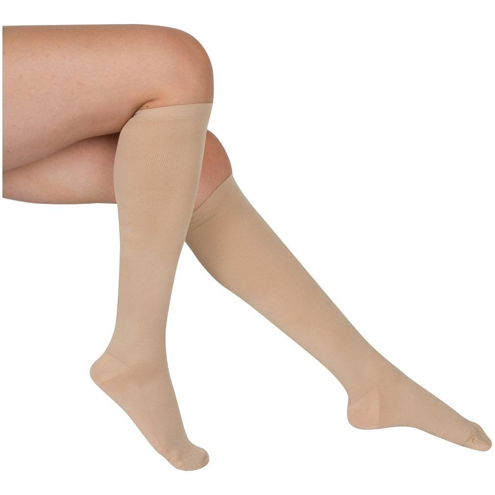 EvoNation Women's USA Made Graduated Compression Socks 20-30 mmHg Firm Pressure Medical Quality Ladies Knee High Support Stockings Hose - Best Comfort Fit, Circulation, Travel (Large, Tan Beige Nude)