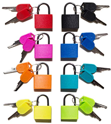 Padlock (8 Pack) Small Padlock with Key for Luggage Lock, Backpack, Gym Locker Lock, Suitcase Lock, Classroom Matching Game and More
