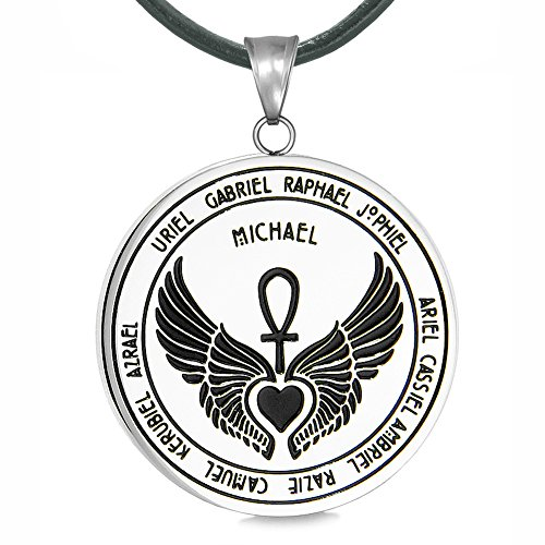 (Archangels 12 Guardian Angels Medallion Wings Heart Ankh Life Power Magic Amulet Pendant Leather Necklace)