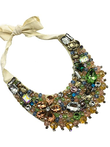 Dorchid Fashion Carnival Necklace Colorful Rhinestone Crystal Choker Craftsmanship Gifted Christmas Short Sweater Floral Jewelry for Wedding Prom Bridesmaids Mother of Bride for Women MIXED COLORS ()