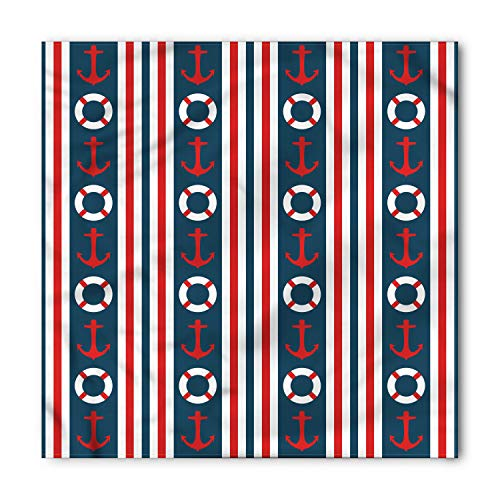 - Ambesonne Unisex Bandana, Nautical Stripes Maritime Icons, Indigo White