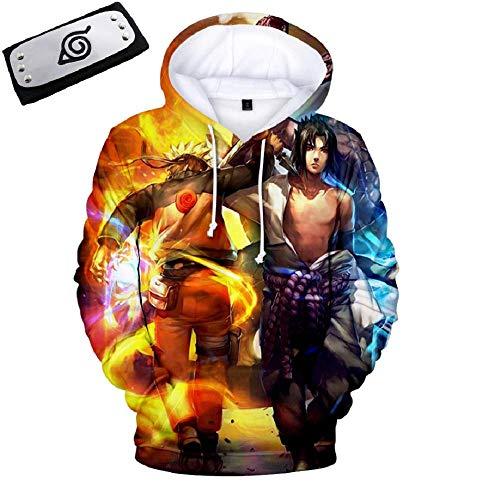 Naruto Sasuke 3D Print Pullover Hoodie Sweatshirt with Kangaroo Pocket, Free Headband (Small)