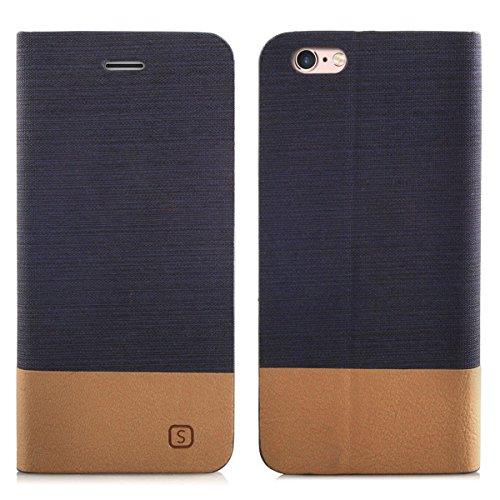 Alienwork Schutzhülle für iPhone 6/6s Stoßfest Brieftasche Hülle Case Ständer Denim blau AP6S12-01