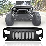 ICARS Black Front Matte Black Beast Grille Grid Grill with Built-In Mesh for 2007-2018 Jeep Wrangler JK JKU Unlimited Rubicon Sahara