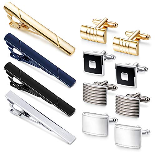FIBO STEEL Mens Cufflink and Tie Clip Set for Men Business Wedding Birthday with Black ()