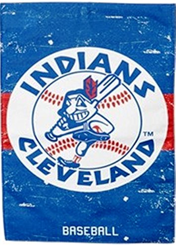 Baseball Display Indians Cleveland (Cleveland Indians EG VINTAGE RETRO 2-sided 28x44 BANNER House Flag Baseball)