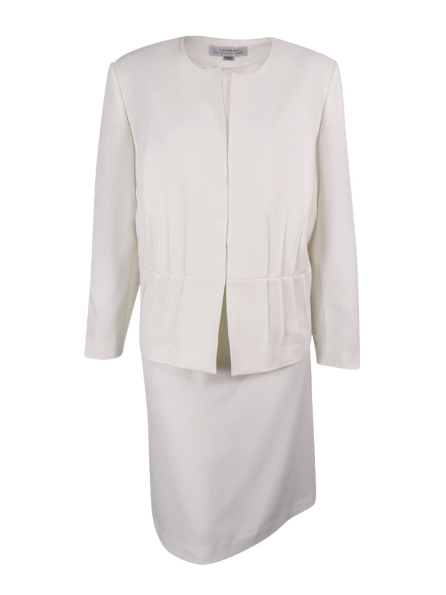 Tahari ASL Women's Plus-Size Crepe Skirt Suit With Pintucks, Ivory, 24W