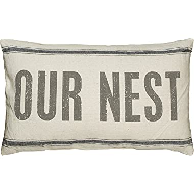 Primitives by Kathy 3-Stripe Our Nest Pillow, 15.5 by 24.5-Inch