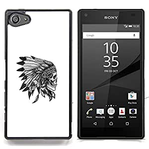 - Native American Chief Skull Skeleton - - Cubierta del caso de impacto con el patr??n Art Designs FOR Sony Xperia Z5 compact / mini Queen Pattern
