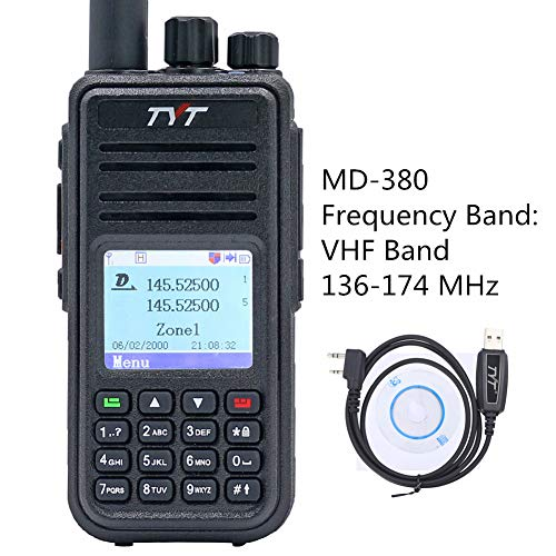 (TYT MD-380 DMR Digital Radio Tier1/2 VHF 136-174 MHz Band 5W Digital Walkie Talkie, 1000 Channels with Programming Cable)