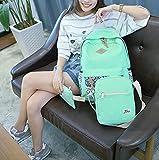 HONEYJOY Canvas Backpack Set 3 Pieces Kids Book Bag School Backpack Handbag Purse Girls Teen (Large, Light Green)
