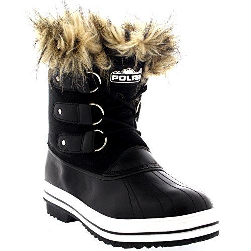 Boots Short Rain up Black Sole POLAR Waterproof Cuff Winter Shoe Suede Lace Rubber Snow Womens vOUYqc7