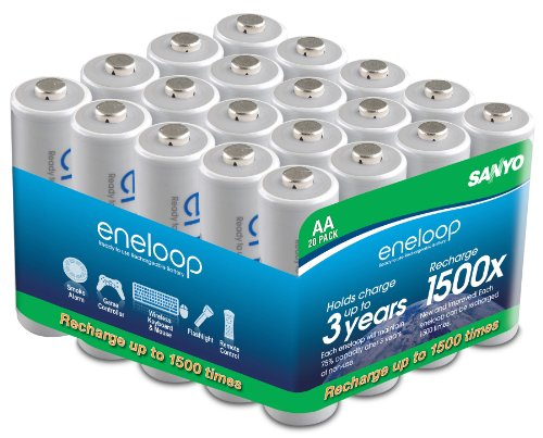 Sanyo ''New'' 1500 Eneloop ''AA'' Pre-Charged Rechargeable NiMH (1900 mAh) Batteries (20 Pack) by Sanyo