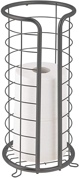 mDesign Decorative Metal Free Standing Toilet Paper Holder Stand with Storage for 3 Rolls of Toilet Tissue - for Bathroom/Powder Room - Holds Mega Rolls - Graphite Gray