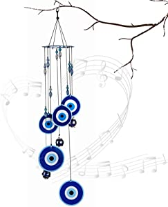 Wistwoxxon Wind Chimes Outdoor,Evil Eye Sympathy Wind Chime with Aluminum Tuned Soothing Musical Bell Sounds, Metal Wind Chimes Perfect Decoration for Patio, Balcony,Garden (Evil Eye)