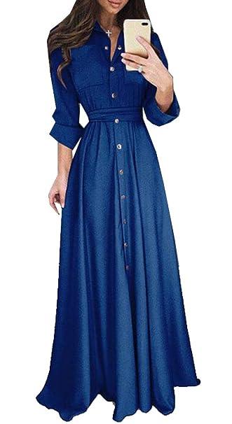 fb9f41d620a Suncolor8 Women Solid Slim Long Sleeve Big Swing Evening Prom Party Maxi  Dress Dark Blue XS