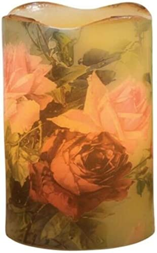 New Lush Roses Floral Vintage Look Flameless Candle Battery Operated with Timer and Flickering Flame