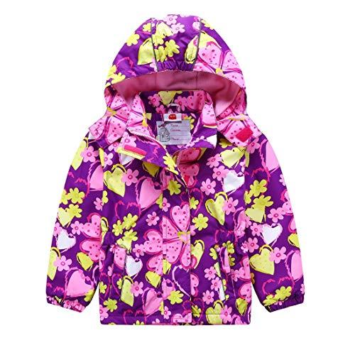 SERAIALDA Girls' Fleece Lined Anorak Zip Jacket Hooded Windproof Windbreaker Raincoat Outwear 4-5Year(Tag 110/116) ()