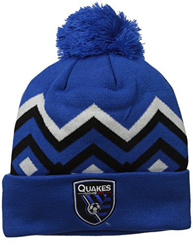 fan products of MLS San Jose Earthquakes Men's Cuffed Knit with Pom, One Size, Blue