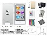 Apple iPod Nano 7th Generation, 16GB - Silver + 9-Piece Accessory Bundle Kit **LATEST MODEL**