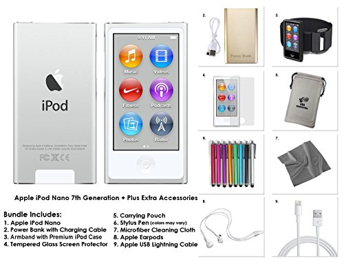 Apple iPod Nano 7th Generation, 16GB - Silver + 9-Piece Accessory Bundle Kit **LATEST MODEL**