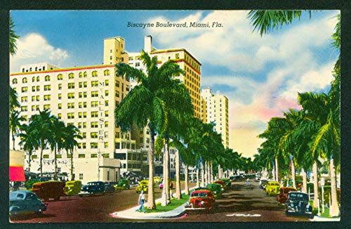 Biscayne Boulevard Street View Old Cars Palm Trees Miami Florida Postcard]()