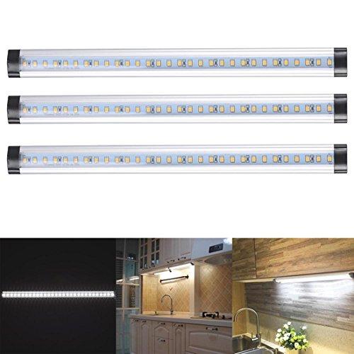 3pcs Kitchen Under Cabinet Shelf Counter LED Light Bar Lighting Kit Lamp White [ Cool White ] (Party City Grand Ave)