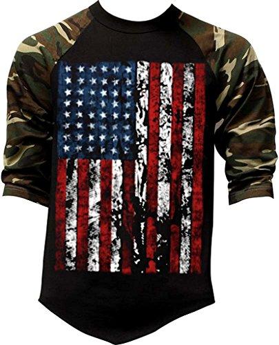 Men's Huge Grunge American Flag Tee Black/Camo Raglan Baseball T-Shirt Medium Black/Camo (Baseball Huge)