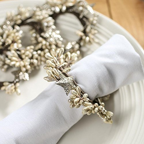 Shiny Berry and Glitter Star Napkin Rings Set of 4 - Perfect napkin rings for a holiday or wedding table setting