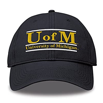 The Game NCAA Michigan Wolverines Unisex Bar Design Classic Relaxed Twil Hat, Navy, Adjustable from MV CORP. INC