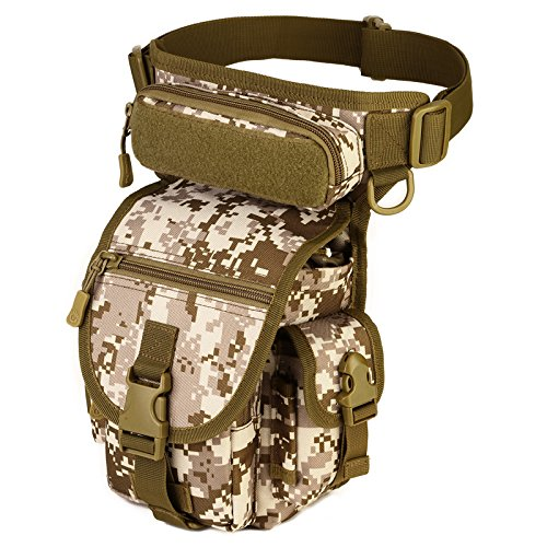 Pouch Desert Camo - Protector Plus Unistrengh Multi-Purpose Military Tactical Drop Leg Sling Bag Walking Man Tool Thigh Waist Belt Pack Paintball Airsoft Motorcycle Riding Camera EDC Pouch (Desert Camo)