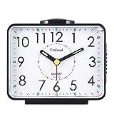 Loud Crescendo Bell Alarm Clock, Non Ticking Analog Desk Clocks,Nightlight, Snooze, Battery Operated, Easy Set,Black