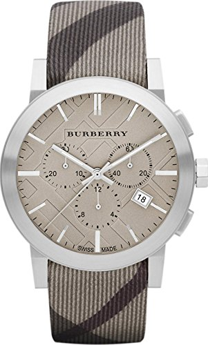 Burberry The City LUXURY Unisex Mens Womens Chronograph Watch Smoke Check Fabric Backed Leather Band Tan Engraved Date Dial BU9358