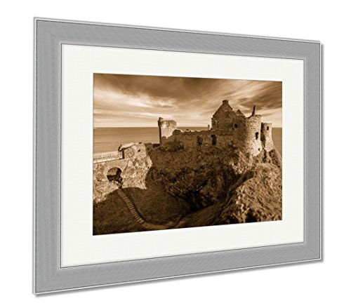 Ashley Framed Prints Ruins Of Dunluce Castle Northern Ireland Co Antrim Travel Sky Summer, Contemporary Decoration, Sepia, 26x30 (frame size), Silver Frame, - Contact Amazon.co.uk Details
