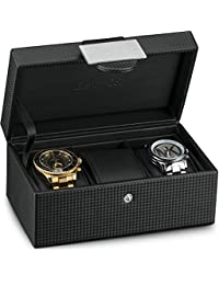 Travel Watch Case - 3 Slot Luxury Organizer Box, Carbon Fiber Design for Mens Jewelry Watches, Men's Storage Holder Boasts Metal Buckle & Leather Pillows, Small for Traveling - Black